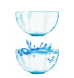 Set two watercolor bowls one is with water vector