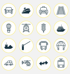 shipping icons set with auto car vehicle barrier vector image