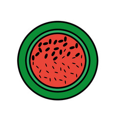 Slice watermelon fruit tasty vector