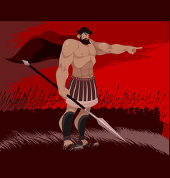 spartan and his warriors vector image