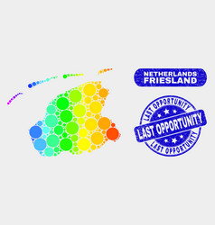 Spectral mosaic friesland province map and grunge vector