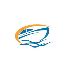 speed boat logo vector image