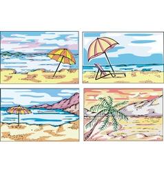 Sunny beach sketches vector
