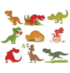 T-rex dinosaur set vector