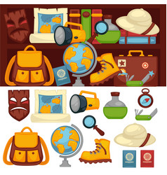 Tourists set necessary things and clothes vector