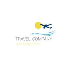 travel company logo template tourism agency banner vector image