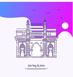 Travel gate way of india poster template purple vector
