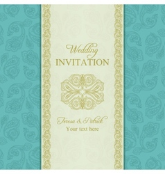 Turkish cucumber wedding invitation gold and blue vector image