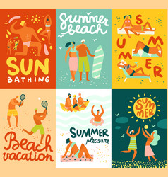 vacation flat cards vector image