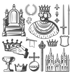 vintage royal elements set vector image