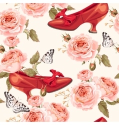 Vintage shoes seamless background vector