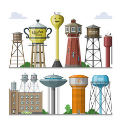 Water tower tank storage watery resource vector