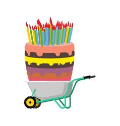 Wheelbarrow and big birthday cake large pie in vector