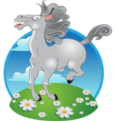 white horse on the color background vector image