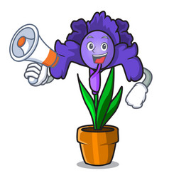 With megaphone iris flower character cartoon vector