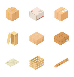 wooden box icons set isometric style vector image