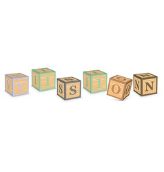 Word VISION written with alphabet blocks vector image