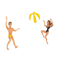 young beautiful smiling couple in swimsuits play vector image