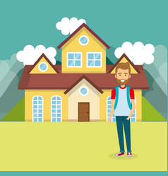Young man outside house vector