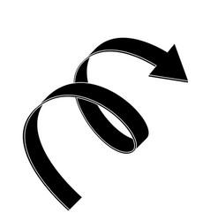 black flat arrow swirl icon vector image vector image