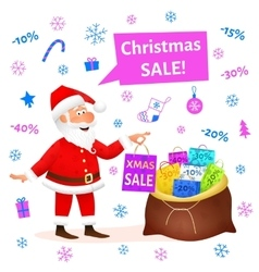 Christmas sale Santa Claus cartoon vector image vector image