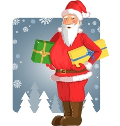 Christmas Santa Claus with gifts in his hands vector image vector image