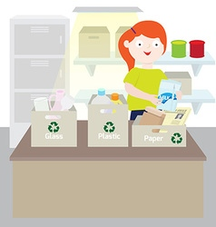 Girl separating trash vector image vector image