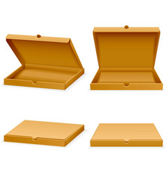 isometric pizza cardboard box Opened and vector image vector image