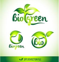 Leaf logo icon green leaf design set vector