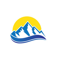 mountain wave icon logo image vector image vector image