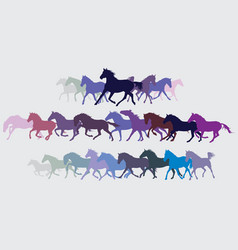 set of colorful running horses silouettes vector image vector image