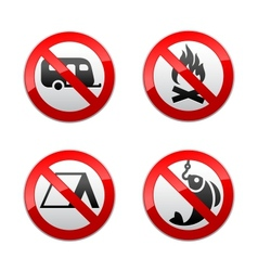 set prohibited signs - turism vector image vector image