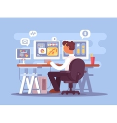Stock trader sits in armchair vector image vector image