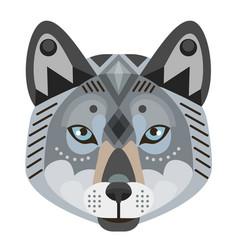wolf head logo decorative emblem vector image vector image