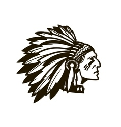 American Indian Chief Logo or icon vector image