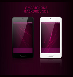 black and white mobile phone with wavy background vector image