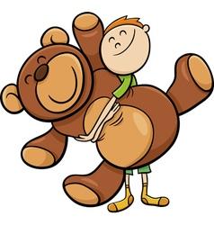 boy with big teddy cartoon vector image vector image