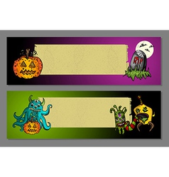 Halloween monsters blank space web banners set vector image