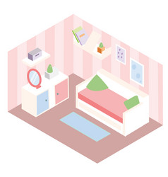 Isometric room interior apartment in pink colors vector