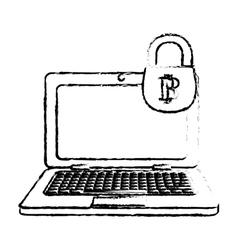 bitcoin icon secure digital money symbol vector image vector image