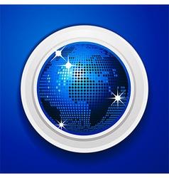 Blue world globe on white frame vector image vector image