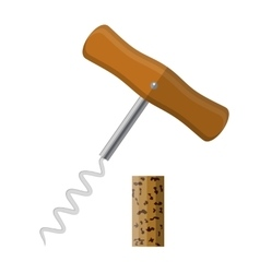 Corkscrew with wooden handle and wine cork vector image