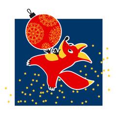 cute fox animal mascot with xmas ball vector image vector image
