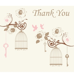 doves thank you card vector image