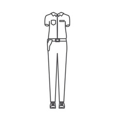 monochrome silhouette of uniform of policewoman vector image