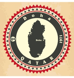 Vintage label-sticker cards of Qatar vector image vector image