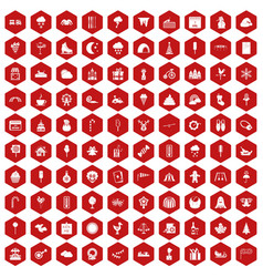 100 childrens parties icons hexagon red vector image vector image