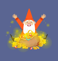 Cute happy dwarf sitting on a gold treasures vector