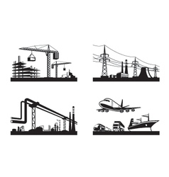 Different types of industries vector image