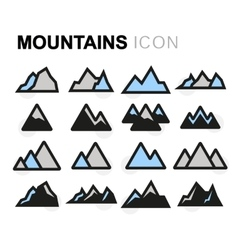 flat mountains icons set vector image vector image
